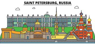 Russia, Saint Petersburg. City skyline, architecture, buildings, streets, silhouette, landscape, panorama, landmarks vector illustration