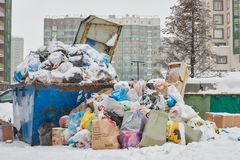Russia. Saint-Petersburg. February 2019.a lot of garbage on the street stock photos