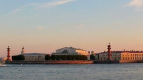 Admirality spire, Rostral Columns, Palace Bridge, Saint Isaaks Cathedral. Russia, Saint-Petersburg, 2 JULY 2016: pleasure transport on Neva, Vasilievskiy Island stock video