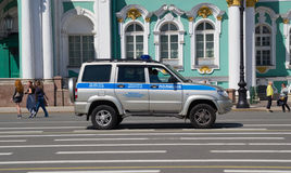 Russia Saint Petersburg July 2016 police car near Hermitage Stock Photo