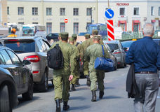 Russia Saint Petersburg July 2016 the soldiers are in the city Stock Image