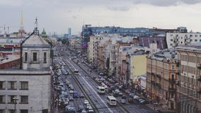 Russia, Saint Petersburg, 20 june 2017. Aerial view of busy street, heavy traffic in the evening. Big city life concept. Aerial view of busy street, heavy stock footage