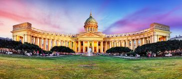 Russia - Saint Petersburg, Kazan cathedral at sunset, nobody royalty free stock photography