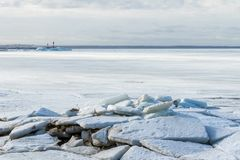 The channel of the Gulf of Finland, chained by ice. Ice hummocks