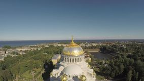 Russia. Saint-Petersburg. Kronshtadt. Naval cathedral. stock video footage