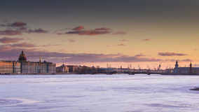 Russia, Saint-Petersburg, 19 March 2016: The water area of ​Neva river at sunset Stock Image