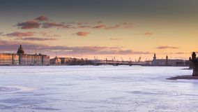 Russia, Saint-Petersburg, 19 March 2016: The water area of the Neva River at sunset stock video