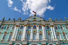 Building of the State Hermitage Museum. View from the Palace Square. RUSSIA, SAINT-PETERSBURG, 31 MAY 2018: Building of the State Hermitage Museum. View from the royalty free stock image