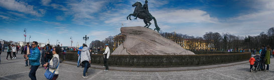 Monument of Russian emperor Peter Great, known as Bronze Horseman,. Russia, Saint Petersburg - may 1, 2017: Monument of Russian emperor Peter Great, known as Stock Image