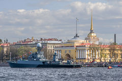 Russia, Saint-Petersburg,Neva. Celebration of Victory Day on the Neva River in St. Petersburg Stock Photos