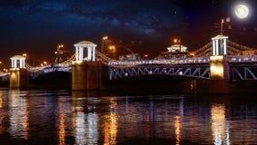 Russia, Saint-Petersburg, at night, Palace Bridge, night illumination. Russia, Saint-Petersburg, 2018: The Admiralty Building at night, Palace Bridge, night Stock Images