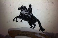 Bronze horseman in a storm. Russia, Saint Petersburg - November 9, 2016: snow storm Blizzard in megapolise. bronze horseman in a storm Royalty Free Stock Photography