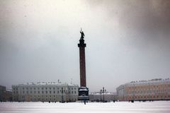 Dvortsovaya square knee-deep snow in a storm Royalty Free Stock Images