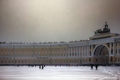 Dvortsovaya square knee-deep snow in a storm. Russia, Saint Petersburg - November 9, 2016: snow storm Blizzard in megapolise. Dvortsovaya square knee-deep snow Royalty Free Stock Image