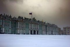 Dvortsovaya square knee-deep snow in a storm. Russia, Saint Petersburg - November 9, 2016: snow storm Blizzard in megapolise. Dvortsovaya square knee-deep snow Stock Photography