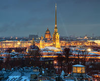 Russia, Saint-Petersburg, Peter and Paul Fortress, night, top vi Royalty Free Stock Images