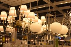 Various lighting fixtures, lamps and nightlights in the Ikea sto Stock Image