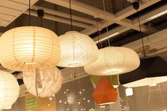 Various lighting fixtures, lamps and nightlights in the Ikea sto Royalty Free Stock Image