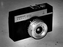 Russia. Samara. April 30, 2017. The old film camera firm of the change on a retro image Stock Photography