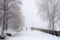 Russia, Samara, 06 February 2016 - embankment on Volga river in winter fog Royalty Free Stock Images