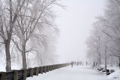 Russia, Samara, 06 February 2016 - embankment on Volga river in winter fog Stock Photos