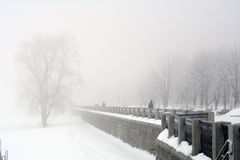 Russia, Samara, 06 February 2016 - embankment on Volga river in winter fog Stock Photo