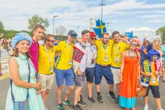 Beautiful football fans from Russia and Sweden communicate with each other before the match England Sweden at the World Cup. Russia, Samara, July 2018: beautiful royalty free stock photos