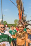 Beautiful Mexican fans in national clothes before the match Brazil Mexico for the World Cup. Russia, Samara, July 2018: beautiful Mexican fans in national royalty free stock photo