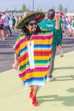 Beautiful Mexican fans in national clothes before the match Brazil Mexico for the World Cup. Russia, Samara, July 2018: beautiful Mexican fans in national stock photo