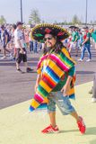 Beautiful Mexican fans in national clothes before the match Brazil Mexico for the World Cup. Russia, Samara, July 2018: beautiful Mexican fans in national stock photography