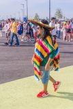 Beautiful Mexican fans in national clothes before the match Brazil Mexico for the World Cup. Russia, Samara, July 2018: beautiful Mexican fans in national royalty free stock photography