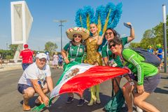 A group of Mexican football fans celebrating the World Cup. Russia, Samara, June 2018: a group of Mexican football fans celebrating the World Cup royalty free stock photography