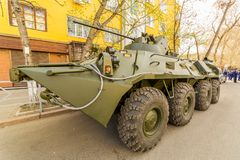 BTR-82 armored personnel carrier on a summer sunny day. Russia, Samara, May 2018: BTR-82 armored personnel carrier on a summer sunny day royalty free stock photos