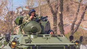 Samara, May 2018: BTR-82 armored personnel carrier on a summer sunny day. Russia, Samara, May 2018: BTR-82 armored personnel carrier on a summer sunny day stock photography