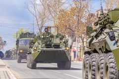 Samara, May 2018: BTR-82 armored personnel carrier on a summer sunny day. Russia, Samara, May 2018: BTR-82 armored personnel carrier on a summer sunny day royalty free stock images