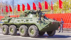 Samara, May 2018: BTR-82 armored personnel carrier on a summer sunny day. Russia, Samara, May 2018: BTR-82 armored personnel carrier on a summer sunny day royalty free stock photos