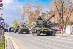 Self-propelled 152 mm howitzer Msta-S NATO name - farm M1990 on the city street. Russia, Samara, May 2018: Self-propelled 152 mm howitzer Msta-S NATO name - farm stock photos