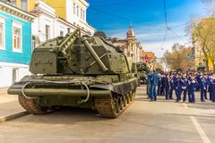 Self-propelled 152 mm howitzer Msta-S NATO name - farm M1990 on the city street. Russia, Samara, May 2018: Self-propelled 152 mm howitzer Msta-S NATO name - farm stock image