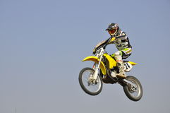 Russia, Samara motocross, rider flying air Stock Photos