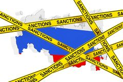 Russia Sanctions Concept. Yellow Tape with Sanctions Sign Agains. T of Russia Map with Flag on a white background. 3d Rendering Stock Photography