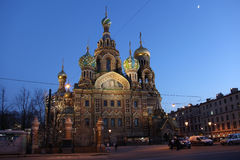 Russia. Sankt Petersburg. Twilight near savior-on-the-blood temple Royalty Free Stock Images