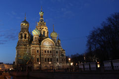 Russia. Sankt Petersburg. Twilight near savior-on-the-blood temple Royalty Free Stock Photos