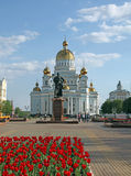 Russia. Saransk. St. Theodor Ushakov`s cathedral and the monument of Admiral Feodor Ushakov. Russia. Republic Mordovia. St. Theodor Ushakov cathedral and Royalty Free Stock Images
