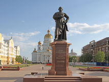 Russia. Saransk. St. Theodor Ushakov`s cathedral and the monument of Admiral Feodor Ushakov. Russia. Republic Mordovia. St. Theodor Ushakov cathedral and Stock Image