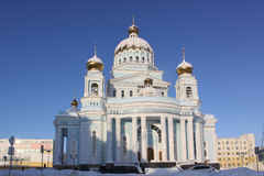 Russia. Saransk. St. Theodor Ushakov`s cathedral during the winter. Russia. Republic Mordovia. St. Theodor Ushakov cathedral during winter Stock Image