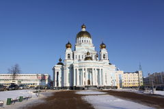 Russia. Saransk. St. Theodor Ushakov`s cathedral during the winter. Russia. Republic Mordovia. St. Theodor Ushakov cathedral during winter Royalty Free Stock Images
