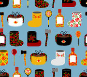 Russia seamless pattern. Russian national objects: boots and woo Royalty Free Stock Photos