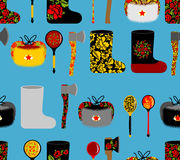Russia seamless pattern. Russian national objects: boots and woo. Den spoon. Vodka and an axe. Ushanka winter Hat traditional to Russia Royalty Free Stock Image