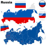 Russia set. Russian Federation set. Detailed country shape with region borders, flags and icons isolated on white background Stock Photos