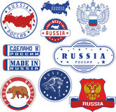 Russia. Set of generic stamps and signs Royalty Free Stock Photo